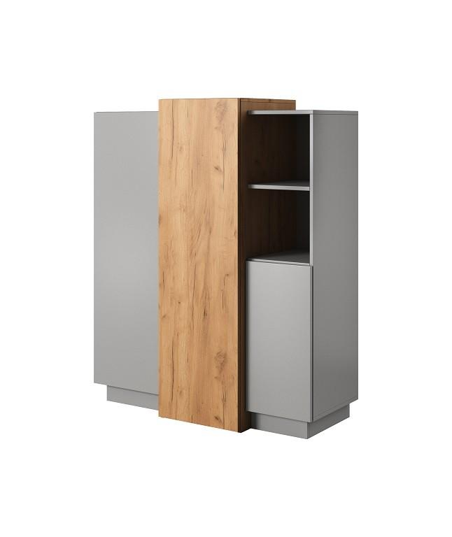 Komoda Vysoká komoda Duras (3x dvere, lamino, sivá/hnedá)
