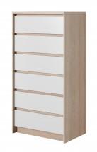 Komoda Xelo - 62,3x121,3x40,5 cm sonoma, biela