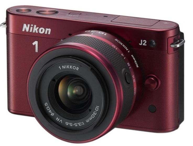 Kompakt s výmenným objektívom  Nikon 1 J2 + 10-30 VR - Red