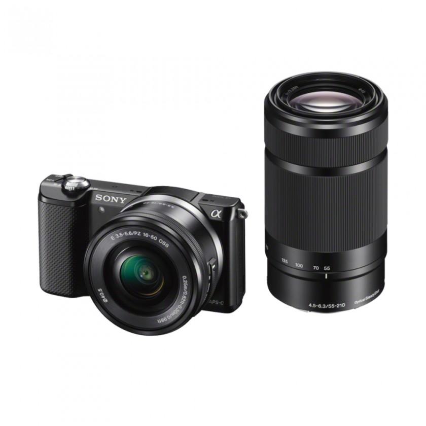Kompakt s výmenným objektívom Sony Alpha 5000 čierny +  16-50mm a 55-210mm (ILCE5000YB.CEC)