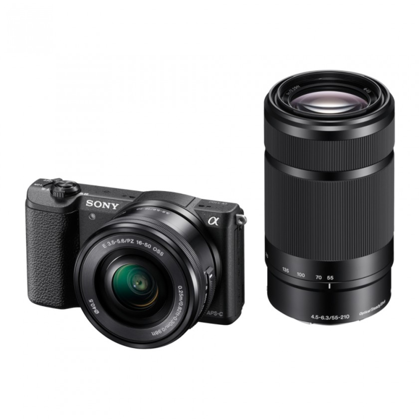 Kompakt s výmenným objektívom Sony Alpha A5100, 16-50mm + 55 -210 mm , Black (ILCE5100YB.CEC)