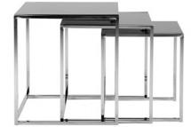 Konferenčný stolík Cross - set 3 kusů (čierne sklo/kov)