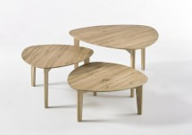 Konferenčný stolík Freda - set 3 kusov (hnedá)