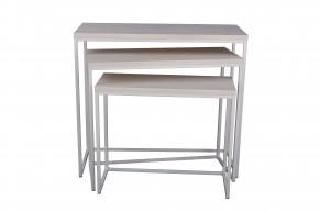 Konferenčný stolík Giewont - set 3 kusů (biela/javor)