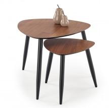 Konferenčný stolík Lenk - set 2 kusov (orech, čierna)