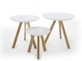 Konferenčný stolík Modun - set 3 kusov (biela)