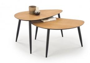 Konferenčný stolík Noli - set 2 kusov (orech, čierna)
