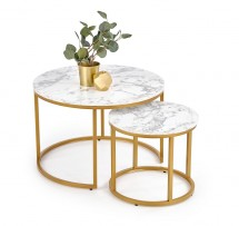 Konferenčný stolík Pola - set 2 kusov (mramor, zlatá)