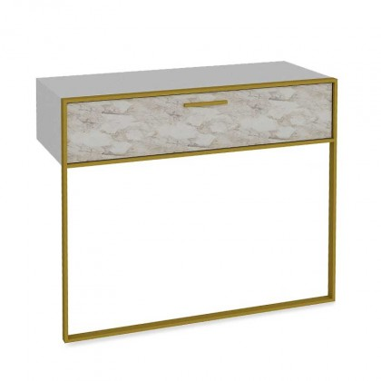 Konzolové stolíky Konzolový stolík Moser (biely mramor, zlatá)