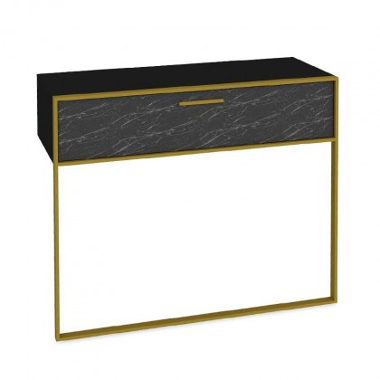 Konzolové stolíky Konzolový stolík Moser (čierny mramor, zlatá)
