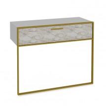 Konzolový stolík Moser (biely mramor, zlatá)
