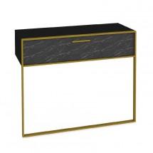 Konzolový stolík Moser (čierny mramor, zlatá)