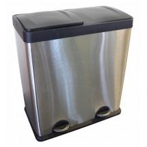 Kôš na triedený odpad s plastovým vekom Toro, nerez, 2x30 l
