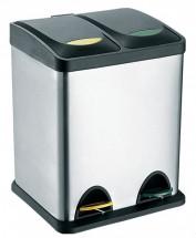 Kôš na triedený odpad s plastovým vekomToro, nerez, 2x8 l