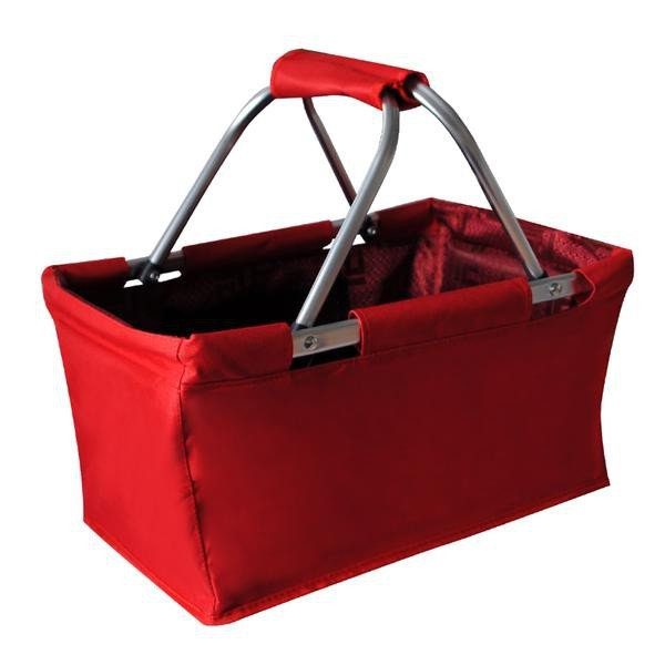 Košík nákupný skládací (bavlna,kov,červená)