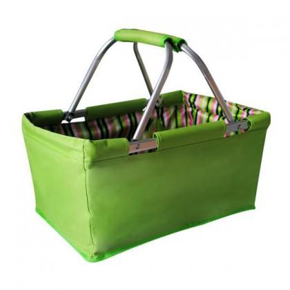 Košík nákupný skládací (bavlna,kov,zelená)