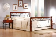 Kovová posteľ Verona 160x200 cm, čerešňa, čierna