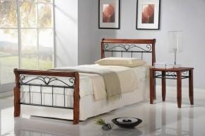 Kovová posteľ Verona 90x200 cm, čerešňa, čierna
