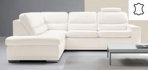 Kožená sedačka rozkladacia Bono ľavý roh biela
