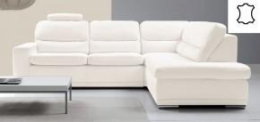 Kožená sedačka rozkladacia Bono pravý roh biela