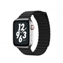 Kožený magnet. remienok pre Apple watch 38/40 mm, Loop, čierna