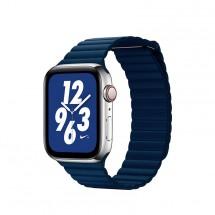 Kožený magnet. remienok pre Apple watch 38/40 mm, Loop, T modrá