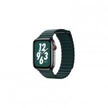 Kožený magnet. remienok pre Apple watch 38/40 mm, Loop, T zelená