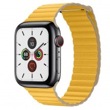 Kožený magnet. remienok pre Apple watch 38/40 mm, Loop, žltá