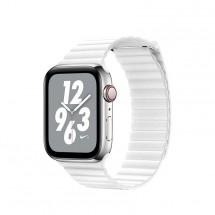 Kožený magnet. remienok pre Apple watch 42/44 mm, Loop, biela