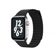 Kožený magnet. remienok pre Apple watch 42/44 mm, Loop, čierna