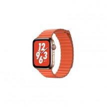 Kožený magnet. remienok pre Apple watch 42/44 mm, Loop, oranžová