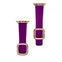 Kožený magnetický remienok na Apple watch 38/40 mm, fialový