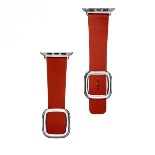 Kožený magnetický remienok na Apple watch 42/44 mm, červený