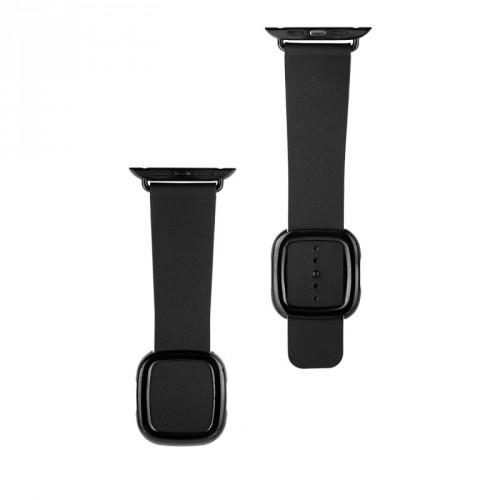Kožený magnetický remienok na Apple watch 42/44 mm, čierny