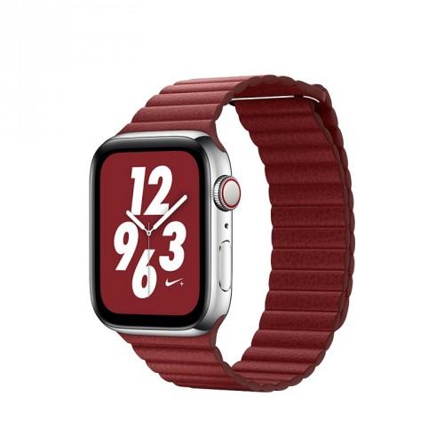 Kožený remienok na Apple watch 38/40 mm, Loop, červený