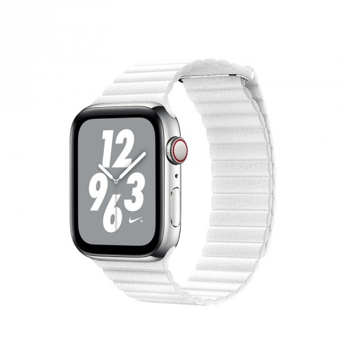 Kožený remienok na Apple watch 42/44 mm, Loop, biely