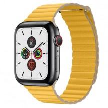 Kožený remienok na Apple watch 42/44 mm, Loop, žltý