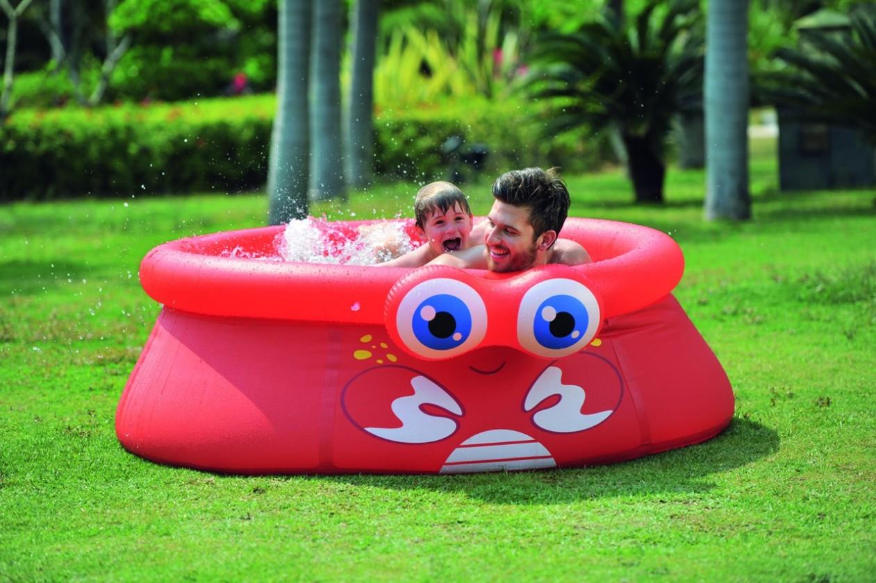 Krab - Detský nafukovací bazén, 175x62 cm (červená)