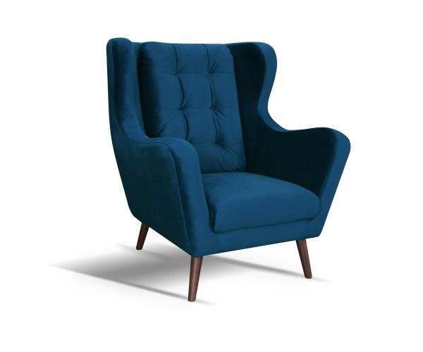 Kreslo ušiak Cremona modrá