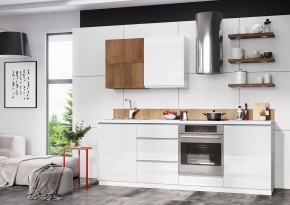 Kuchyňa Elza - 240 cm (biela vysoký lesk/akácie)