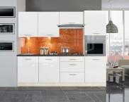 Kuchyňa Emilia - 240 cm (biela vysoký lesk/travertin tmavý)