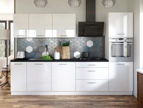 Kuchyňa Emilia - 300 cm (biela vysoký lesk/čierna)