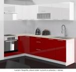 Kuchyňa Emilia (biela/červená vysoký lesk)
