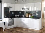 Kuchyňa Emilia ľavý roh 243x143 cm (biela vysoký lesk/čierna)