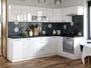 Kuchyňa Emilia pravý roh 243x143 cm (biela vysoký lesk/čierna)
