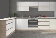 Kuchyňa Line - 320x160 cm (biela vysoký lesk/dub sonoma)