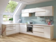 Kuchyňa Line - 320x180 cm (biela vysoký lesk/dub sonoma)