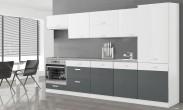 Kuchyňa Manhattan - 300 cm (biela vysoký lesk/sivá vysoký lesk)