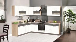 Kuchyňa Marina 285x210 cm (biela vysoký lesk/grafit)
