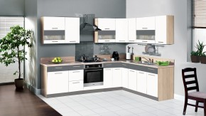 Kuchyňa Marina - 285x210 cm (biela vysoký lesk/grafit)